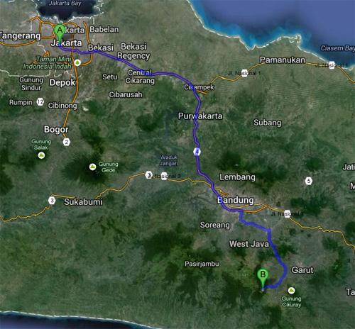 Peta jalur Jakarta - Garut melewati jalan tol Cipularang