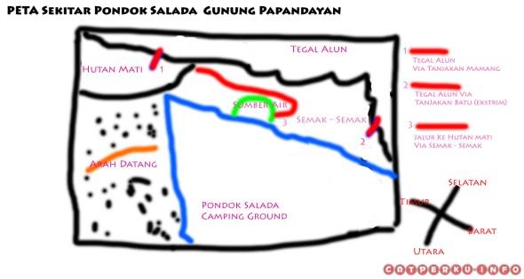Peta lokasi Pondok Salada dan letak jalur naik ke Tegal Alun.