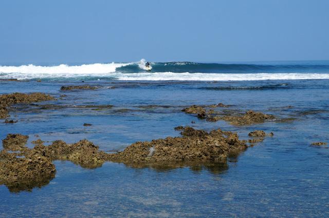 Sebaiknya hanya peselancar pro yang bisa menunggang ombakdi Pantai Sawarna Beach Sukabumi yang berombak bagus ini!