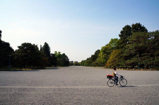 Seorang penduduk setempat sedang bersepeda di area Kyoto Imperial Palace Park.