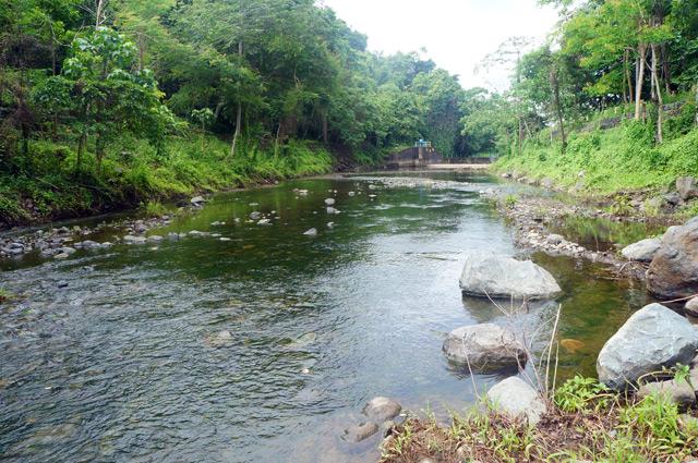 Air sungainya mengalir tenang, di ujungnya ada dam untuk menampung air agar bisa dimanfaatkan sepanjang tahun.