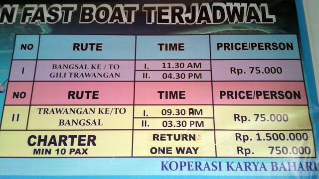 Alternatifnya ke Gili Trawangan dari Pelabuhan Bangsal bisa naik fastboat terjadwal.