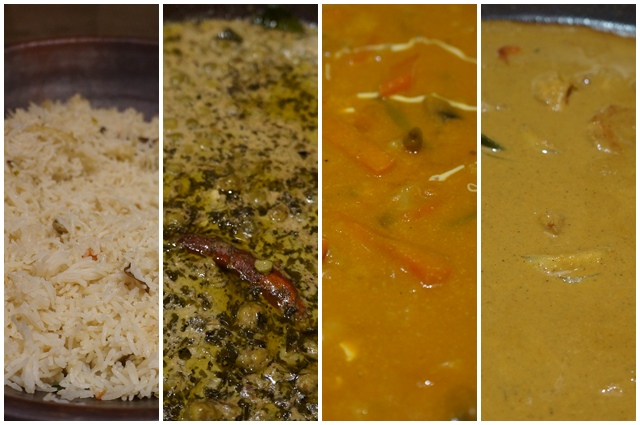 Dari Kiri : Ghee Rice, Methi Matar Malai, Subz Pukhtan, Goan Prawn Curry.