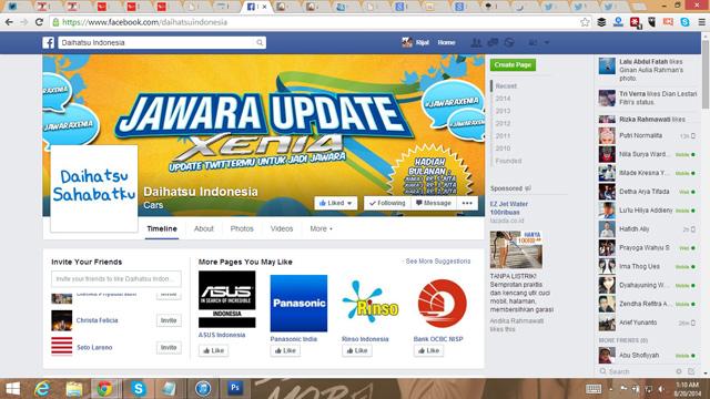 Bukti like fanspage Daihatsu Indonesia