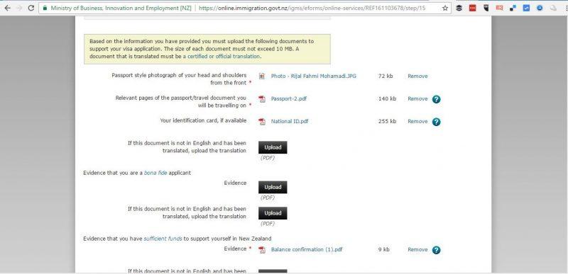 Dokumen yang wajib dilampirkan ketika apply visa turis New Zealand secara online.