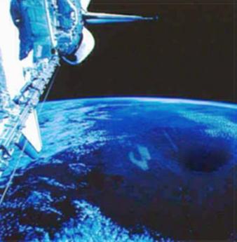 Fotografia tomada al polo norte de la tierra , mision STS75 en 1996
