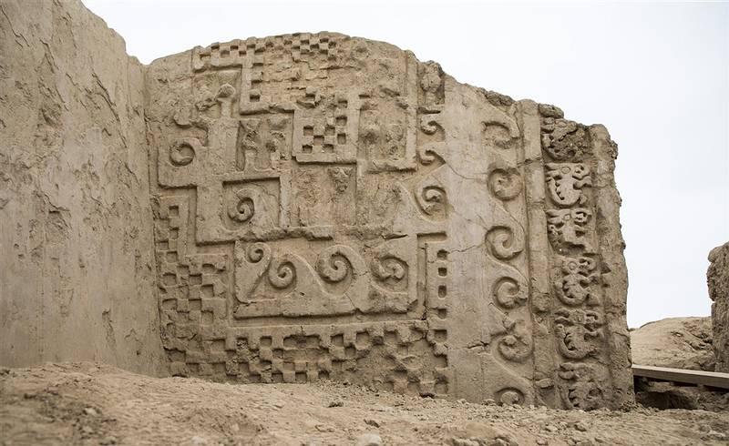 Motivos marinos. Los escaques podrían representar redes de pesca. Foto: Ministerio de Cultura de Perú