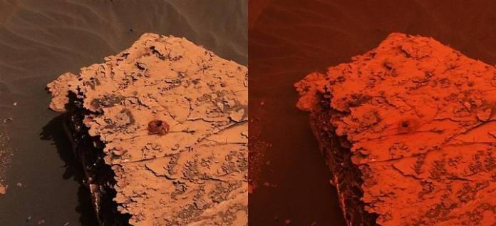Dos imágenes tomadas por la Mast Camera (Mastcam) del rover Curiosity que muestran el cambio de color en la iluminación de la superficie de Marte. El sitio, conocido como Duluth, fue perforado recientemente por el Curiosity en busca de muestras.