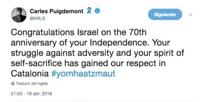 Resultado de imagen de puigdemont twitter independencia israel