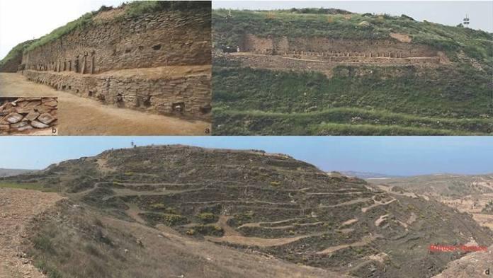 Diferentes vistas de las partes desenterradas de la pirámide. Crédito: Zhouyong Sun y Jing Shao.
