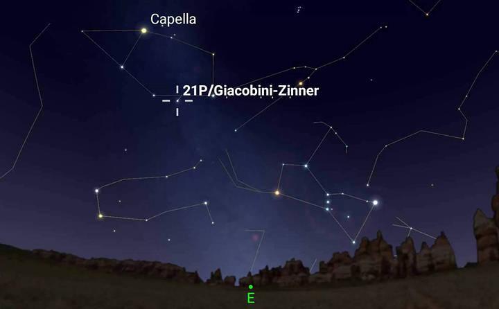 Este gráfico muestra la ubicación aproximada del cometa 21P/Giacobini-Zinner durante su máximo acercamiento, a las 2:27 a.m. (hora local) del 10 de septiembre, desde la ciudad de Nueva York.