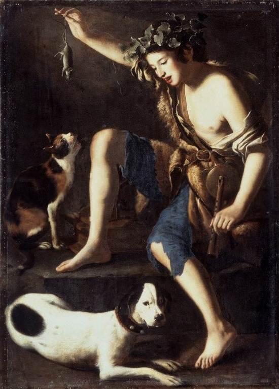 'Chico jugando con un gato', Tommaso Salini, siglo 17.