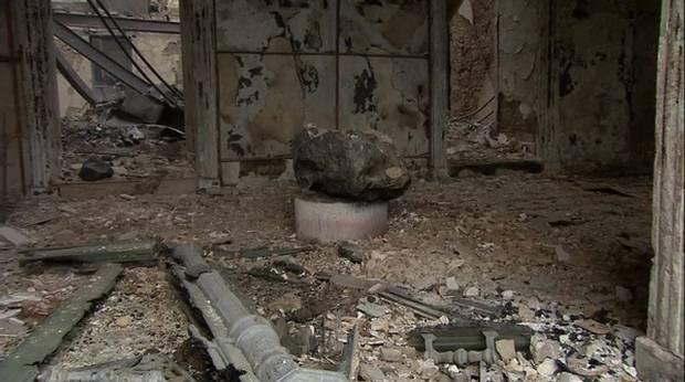 Lo que quedó de la sala que contenía al meteorito (Gentileza TV Globo).
