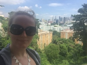 Me and the view from the top of Mount Faber