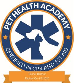Rachel Reisner's certified in Pet CPR and First Aid