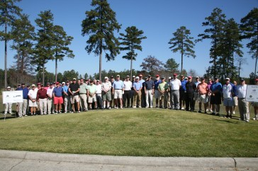 Teams line up for the 17th annual J.D. Powell Memorial Golf Tournament at Stonebridge Golf Club in Rome on Thursday, Oct. 22.