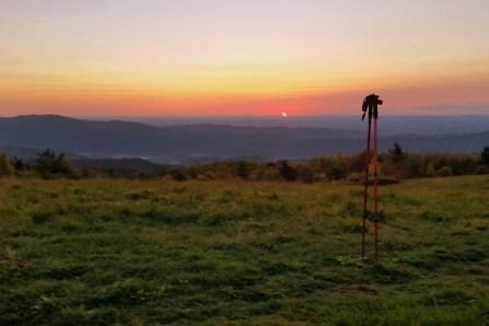 Sunset with trekking poles