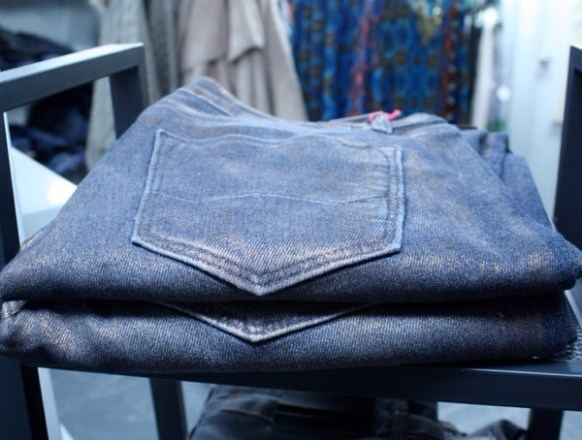 Cool metallic wash jeans