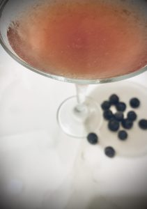 An adult beverage of gin, vermouth, and blueberries.