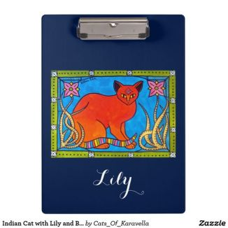 Indian Cat With Lilies Clipboard from Cats of Karavella Collection