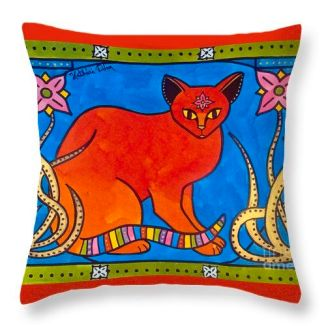 Indian Cat With Lilies Pillow from Cats of Karavella Collection