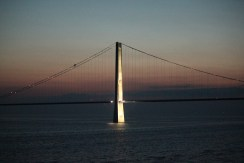 The Ostbroen Bridge between Denmark & Sweden at midnight