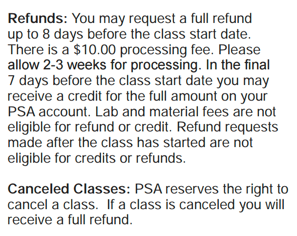 PSA Refund Policy