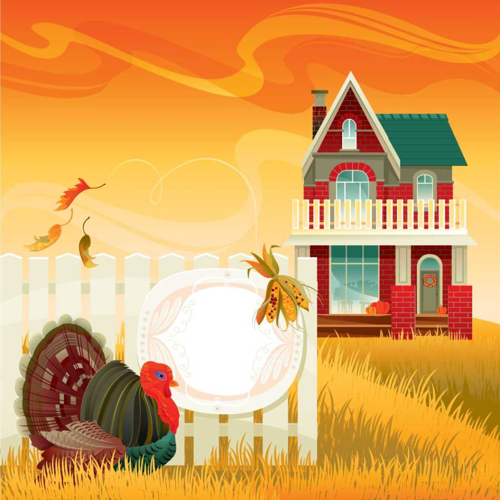 An illustration of turkey, corn and pumpkins in front of a farm house representing safe, non-toxic holiday foods for cats.