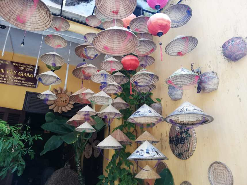 Decoration of typical Asian conical hats in Hoi An Vietnam
