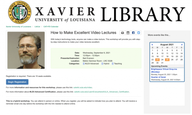 A screen capture of the information page for an event listed in LibCal.