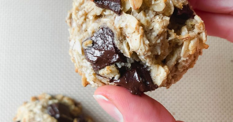 Chocolate Chunk Banana Bread Cookies (Gluten Free, Refined Sugar Free, Dairy Free)