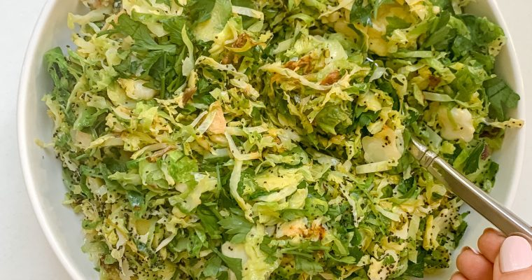 Hashed Brussels Sprouts with Lemon + Poppy Seeds (Vegan, Gluten Free)