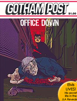 Catwoman depicting shooting Commissioner Gordon on the cover of The Gotham Post