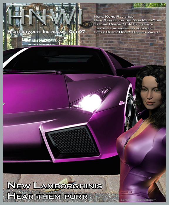 Selina Kyle on the cover of HNWI with the Lamborghini Reventon