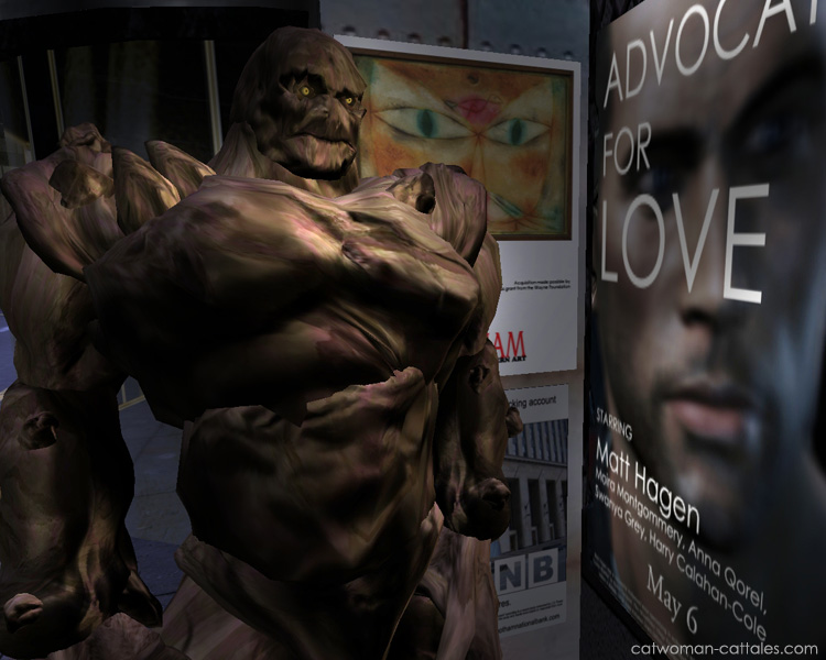 Character Portrait: Matt Hagen as Clayface viewing an old movie poster - Matt Hagen as Grant Gifford in Advocate for Love