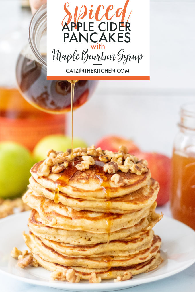 Warm up your autumn weekends with spiced apple cider pancakes, and to really take them over the top, whip up a little maple bourbon syrup!