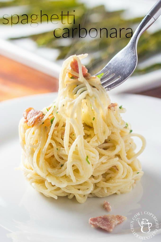 Spaghetti Carbonara | Catz in the Kitchen | catzinthekitchen.com | #spaghetti #pasta #bacon