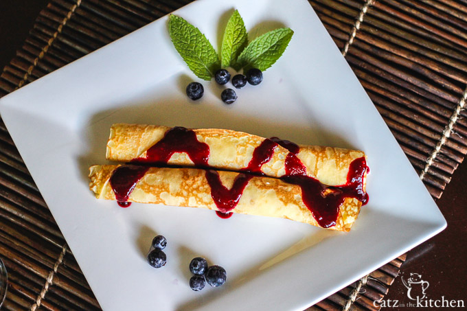 Creme-Filled Crepes with Brown Sugar Berry Syrup