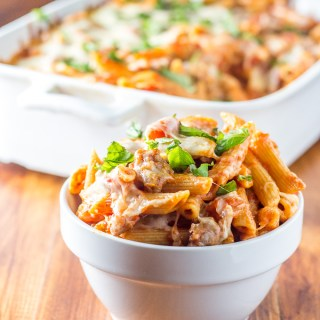 This recipe for baked Italian sausage penne is one of the most tried and true in our home kitchen! We've been making it for years - its simple, warm flavors and heartiness make us happy when it's cold and rainy out!
