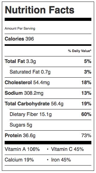 Sweet Potato Chicken Chili Nutrition Info