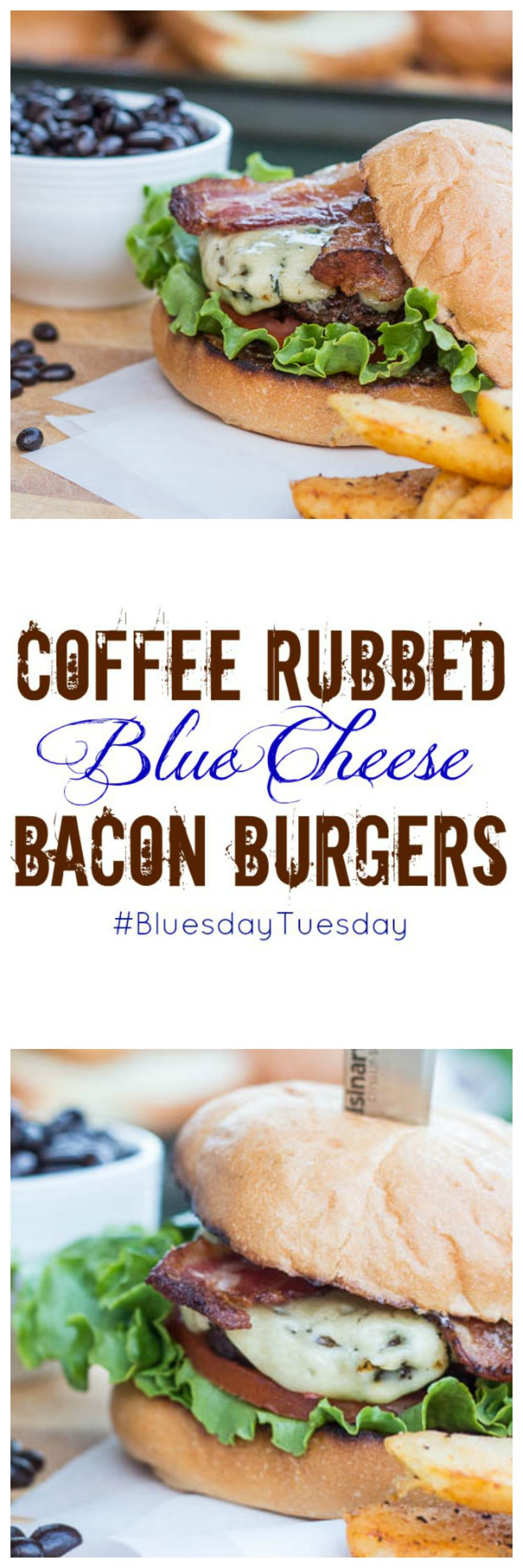Coffee Rubbed Blue Cheese Bacon Burgers | Catz in the Kitchen | catzinthekitchen.com | Partnering with Castelo for a Summer of Blue | #BluesdayTuesday