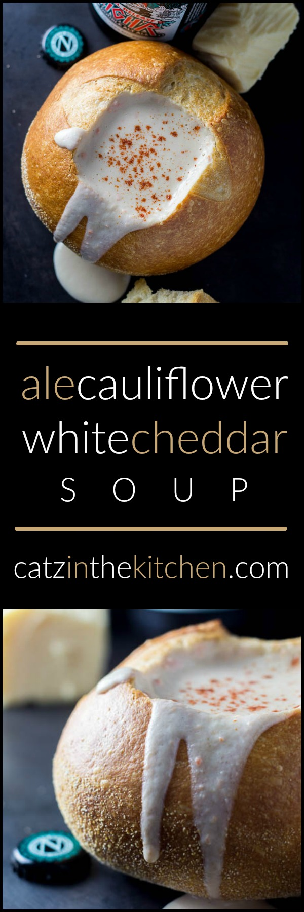 Ale, Cauliflower, & White Cheddar Soup | Catz in the Kitchen | catzinthekitchen.com | #whitecheddar #soup #beer
