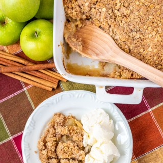 The yummy apple crisp is simple enough for a family dessert or nice enough to serve for company, but easy enough to make for a potluck or holiday hoopla!