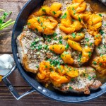 This easy recipe for one pan honey apricot pork chops is not only tasty and healthy, it's a winner all year long, with fresh fruit or canned!