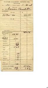 Isaac Caudill Pay Receipt from Coal Company