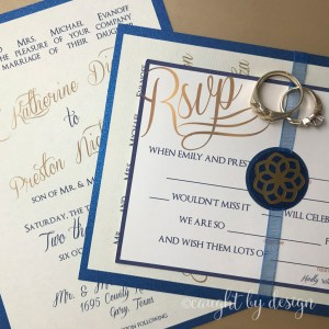 Wedding invitation seals made from printable gold foil