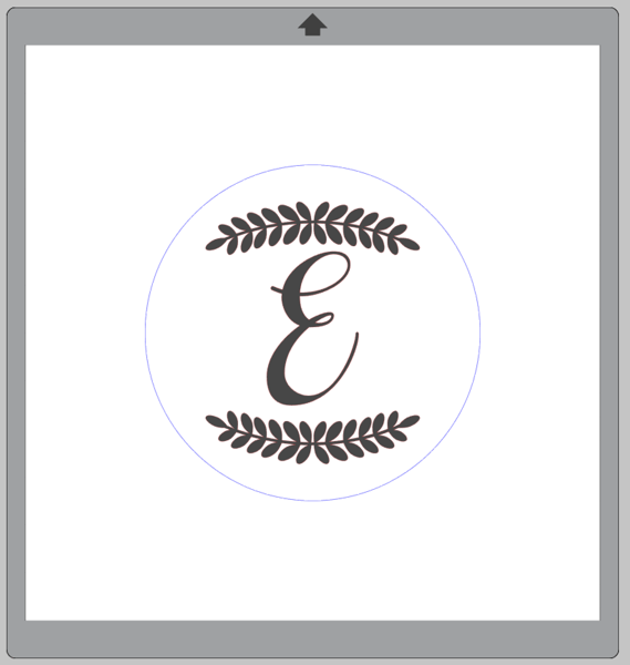 Screenshot of Laurel Leaf Borders design with monogram inside a blue circle