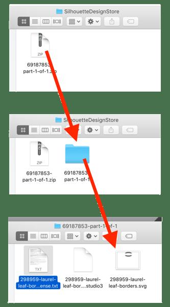 Screenshot of file unzipping process