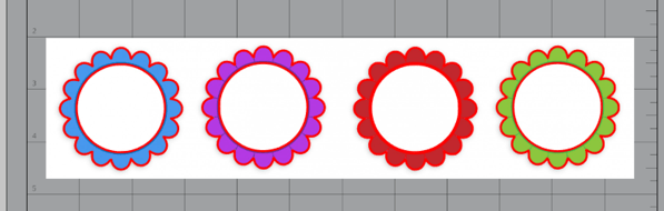Blue, purple, red, and green floral frame clipart with cut lines