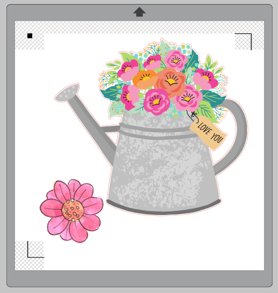 Silhouette Design Store images of watering can with flowers and watercolor flower
